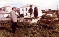 George Levounis in front of his beautiful house in Potamos.