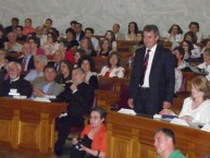 George Miller's Eptanesian award, accepted by Deputy Mayor of Kythera, Michaeli Protopsaltis