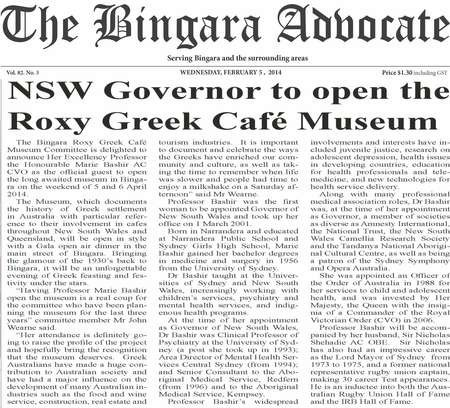 NSW Governor to open the Roxy Greek Café Museum