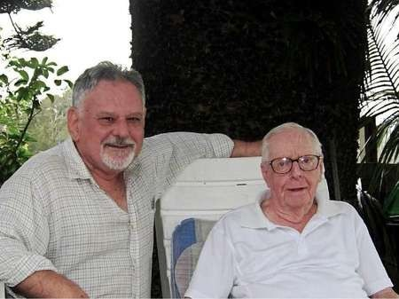 Peter Prineas (left) with Jim Somerville an old comrade of rainforest and wilderness campaigns.