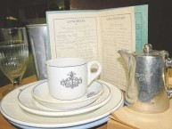 Crockery, teapot and menu from the Busy Bee Cafe on display at Gunnedah Watertower Museum