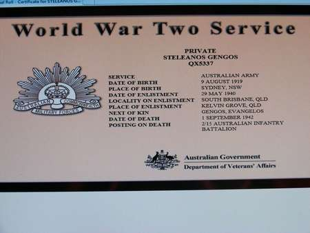 Pte 'Stan' Steleanos Gengos - Australian Infantry