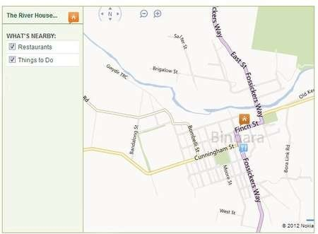 Map by which to locate The River House in Bingara