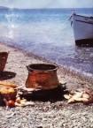 """""""Kakavi"""" -  """"fish pot"""" - on beach."""