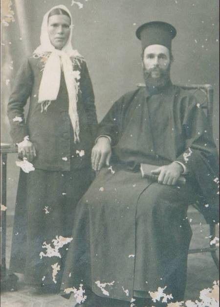 Father Evangelos Crithary the priest of Karavas and his wife Stamatia (nee Panaretos)