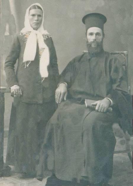 Father Evangelos Crithary the priest of Karavas and his wife Stamatia (nee Panaretos).