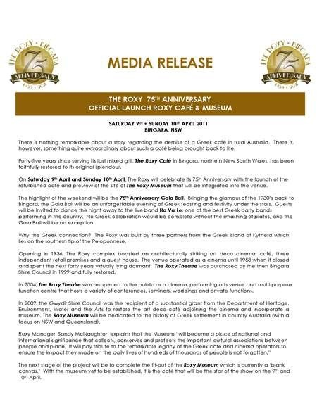 Media Release 75th Anniversary Celebrations