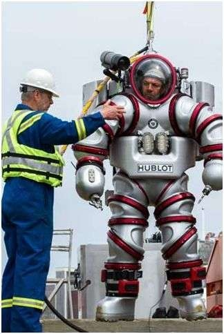 Marine diver wearing the Exosuit, a cutting-edge piece of diving equipment that allows the user to go as deep as 300 meters and remain there for up to four hours