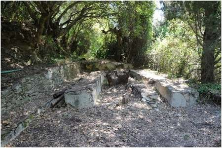 """Environmental Archaeology and History in Northern Kythera: - Gregory The """"picnic area"""" at the Manganou spring, after being cleared in 2011"""