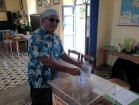 George C Poulos voting for the first time in Greek elections