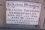 Emmanuel Theodore Georgopoulos. Manual Poulos. Headstone. Gilgandra Cemetery.