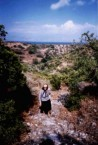 Yia yia Kirrani Koroneos (nee, Souris), walking through the fields.