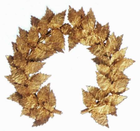 2nd century BC, gold wreath. Benaki Museum.