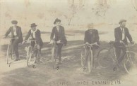 Bikeriders mounted on their bikes - original photograph with inscription across the bottom