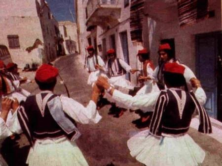 Kytherian High School boys dance in their national costume. 1976.