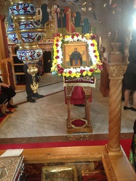 The icon of Ayios Theothoros on display at St Catherines on ....