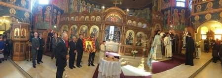 Kytherians celebrating the feast day of Ayia Elesa with a decorated icon
