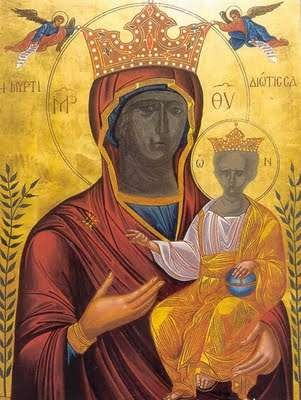 Picture of the original icon of Panagia Myrtidiotissa, Kythera - Panagia Myrtidiotissa Sept 24