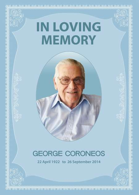 George Coroneos - Coroneos euology Front page 1