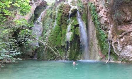 Is Kythira the perfect Greek island? - Guardian Jemima swimming at the second waterfall down from Mylopotamos
