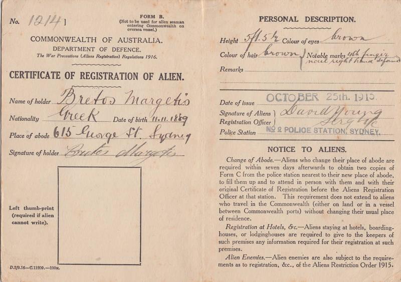 Documents Registration Of Alien Certificate Of Bretos Margetis 1915
