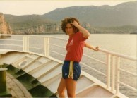 Sophie Poulos on ferry back to Kythera