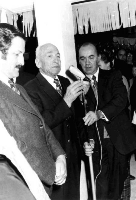 Nicholas Laurantus announcing his first donation to St Basil's Homes in 1973.