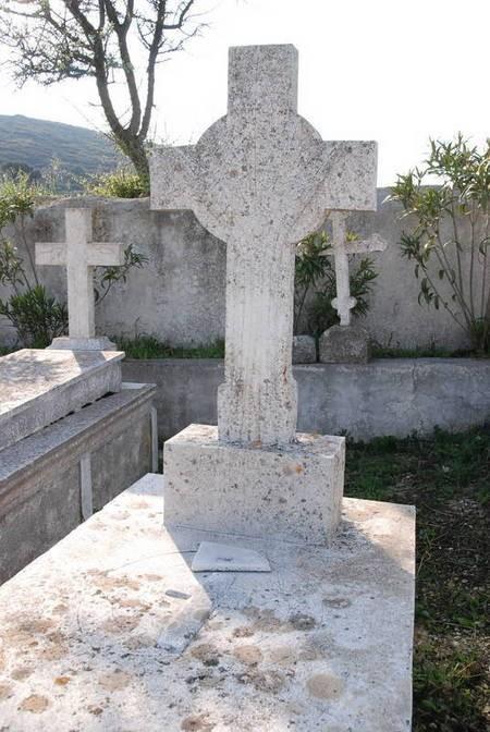 Time-weathered gravestone at Drymonas