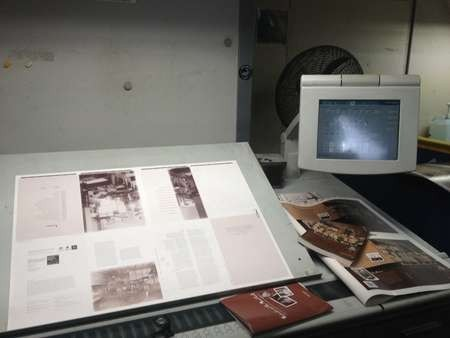 Computer module area, next to the large printer, during the printing of Aphrodite and the Mixed Grill
