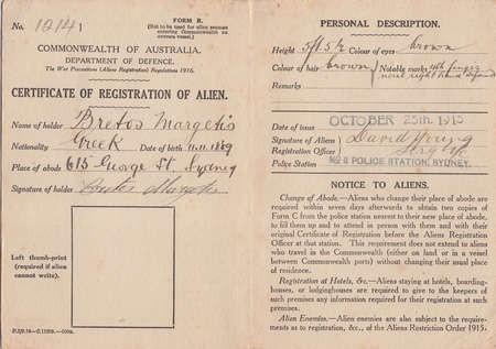 Registration of Alien Certificate of Bretos Margetis, 1915