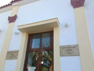 New marble signs, written in both Greek and English announce the opening of the Kytherian Municipal Library