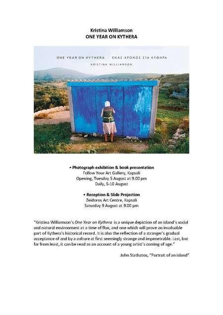 Kristina Williamson's One Year on Kythera EXHIBITION