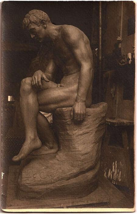 Emmanuel Andrew Cavacos - Thinker Salon des Artistes Francais 1914