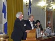 Nikos Petrochilos accepting his Eptanesian award