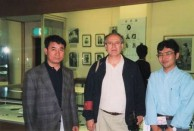 Masaaki Noda with Takis Efsthiou and Lafcadio Hearn's grandson, Bon Koizumi at the Matsue Muesum, in Japan on July 5th 1996