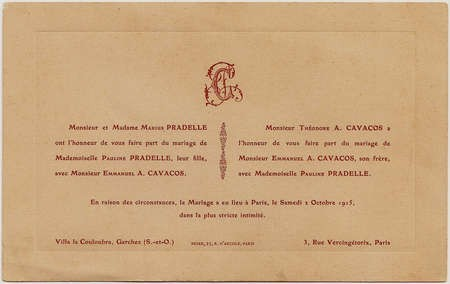 Wedding Invitation - Emmanuel Kavacos and Pauline Pradelle, Paris 1915