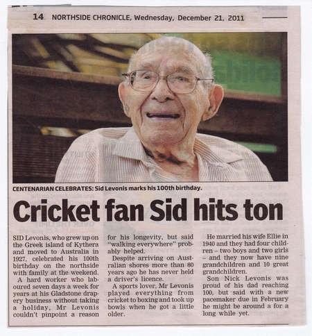 Another Brisbane Centenarian - congratulations!