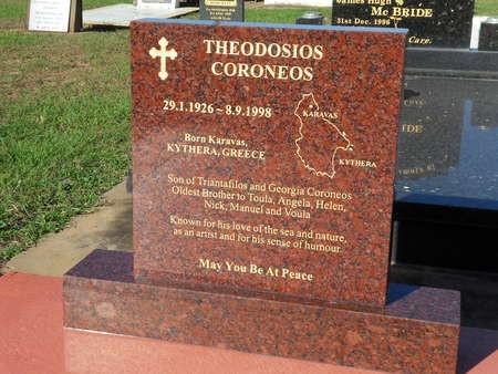 Gravestone of Theo Corones (Theothosi Koroneos), in Bargara, Queensland