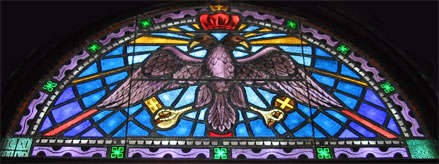 Double Headed Eagle iconology and the Greek Church. - Stained glass window in St Nicholas Greek Orthodox Cathedral in Tarpon Springs, Florida