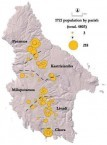 1721. Kythera population density. Map.