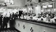 Interior of the Black & White Milk Bar, Martin Place, Sydney / Mick Adams c.1932.