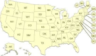 Abbreviations For States In The United Of America