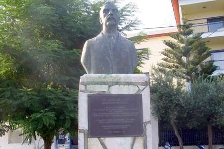 Statue of Lafcadio Hearn (Koizumi Yakumo), in the park on the Beach in Lefkada
