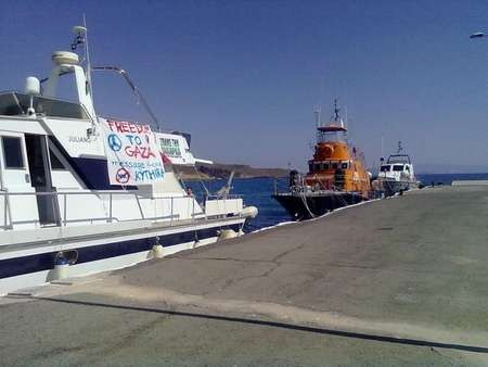 Freedom Flotilla Ship forced to pull into Agia Pelagia. - 264859_247723668576809_112906292058548_1181343_6684979_n
