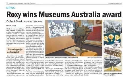 Roxy wins Museums Australia award - Roxy wins Museums Australia Award Sat 23 May 2015