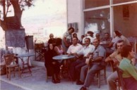Con George Poulos, at the taverna. With family and friends. 1975.