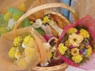 Bouquets made with semprevive, a dry flower that grows only on Kythera.