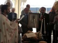 Preparing to parade the icon of Ayios Haralambos