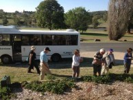 Belrose Rotarian's fascinated by the stawberries growing at the River House, Bingara