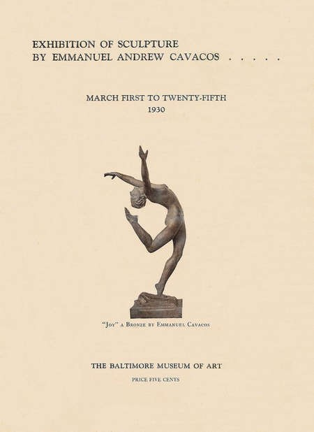 Program for an Exhibition of Sculpture Emmanuel Cavacos sculptures, Baltimore, 1930